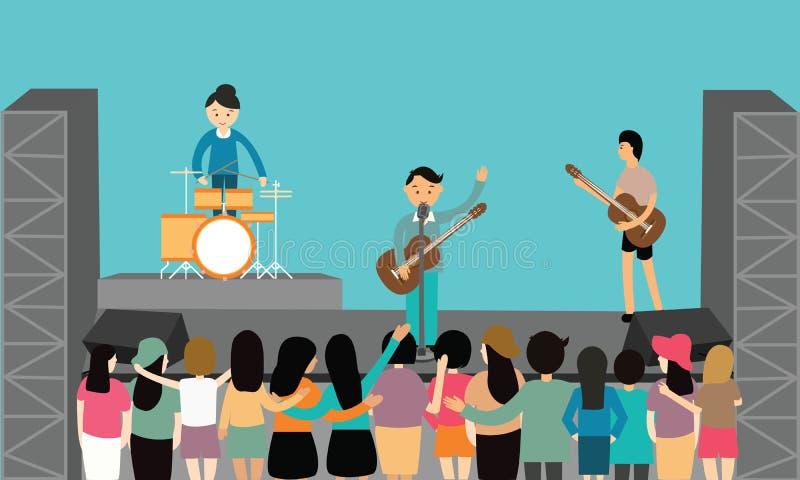Μουσικής συναυλίας απόδοσης επίπεδες διανυσματικές νεολαίες οργάνων διασκέδασης παίζοντας ελεύθερη απεικόνιση δικαιώματος