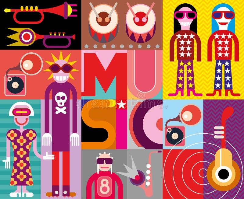 Μουσική - λαϊκή διανυσματική απεικόνιση τέχνης διανυσματική απεικόνιση