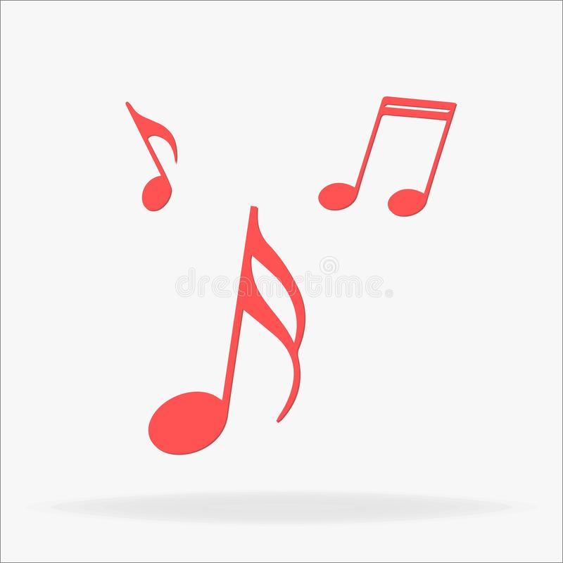 Μουσική, εικονίδιο σημειώσεων Κόκκινα μουσικής εικονίδια Ιστού σημειώσεων καθορισμένα απεικόνιση αποθεμάτων