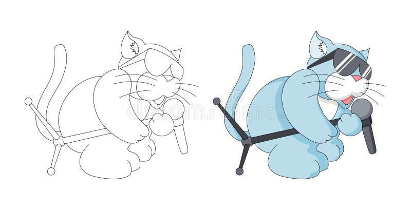 Μουσική ζωική παιδαριώδης γάτα κινούμενων σχεδίων με τη χρωματίζοντας σελίδα βιβλίων μικροφώνων για τα παιδιά διανυσματική απεικόνιση