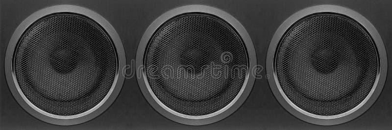 Μουσική και ήχος - μπροστινή άποψη τρία βαθιά περίφραξη ομιλητών Subwoofer στοκ εικόνες με δικαίωμα ελεύθερης χρήσης