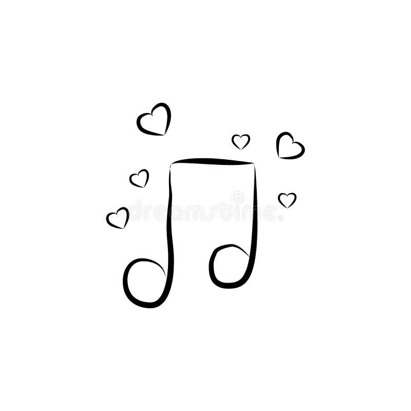 μουσική νότα με την απεικόνιση σκίτσων καρδιών Στοιχείο του γαμήλιου εικονιδίου για την κινητούς έννοια και τον Ιστό apps Μουσική απεικόνιση αποθεμάτων