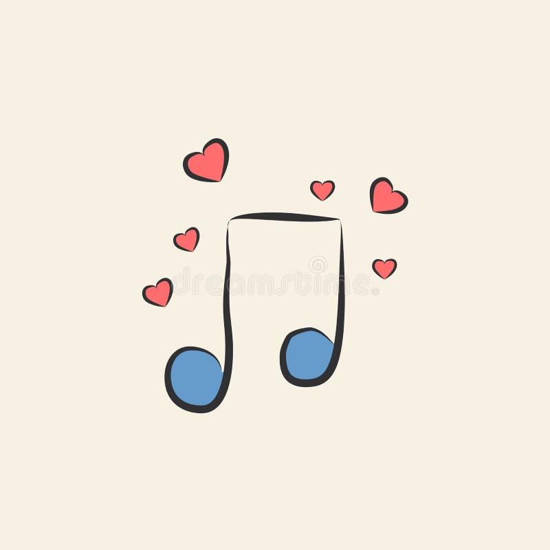μουσική νότα με την απεικόνιση σκίτσων καρδιών Στοιχείο του χρωματισμένου γαμήλιου εικονιδίου για την κινητούς έννοια και τον Ιστ ελεύθερη απεικόνιση δικαιώματος