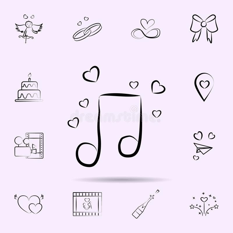 Μουσική νότα με το εικονίδιο καρδιών Καθολικό σύνολο γάμου για το σχέδιο ιστοχώρου και την ανάπτυξη, app ανάπτυξη απεικόνιση αποθεμάτων
