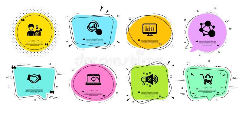 Μουσική που κάνουν, διάγραμμα γραφικών παραστάσεων και εικονίδια ακεραιότητας καθορισμένα Megaphone πώλησης, lap-top Seo και σημά ελεύθερη απεικόνιση δικαιώματος
