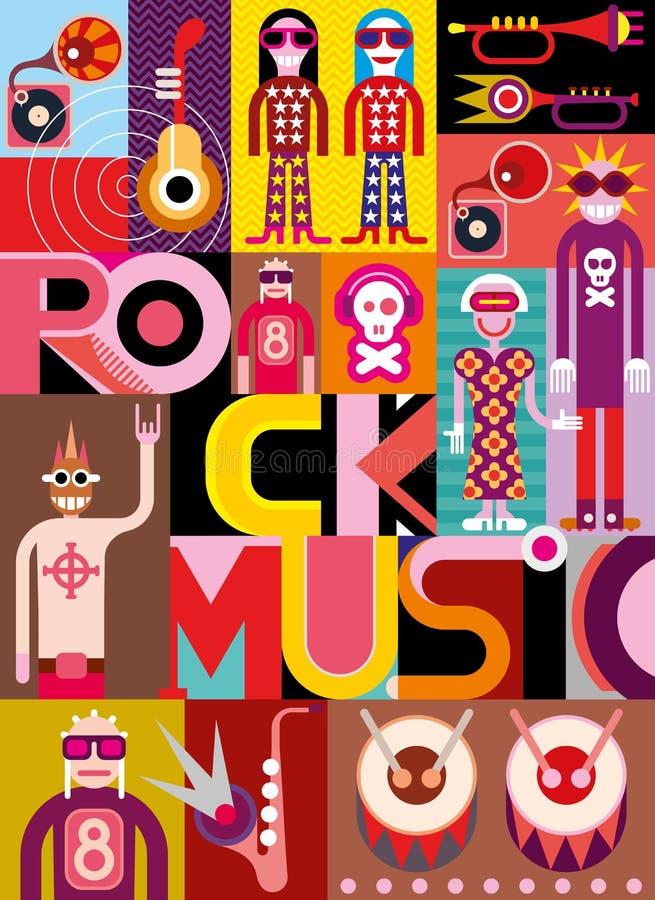 Μουσική ροκ - διανυσματική απεικόνιση ελεύθερη απεικόνιση δικαιώματος