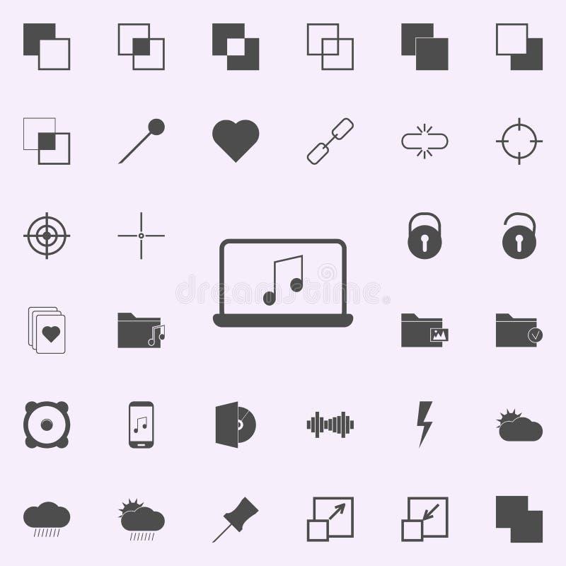 μουσική στο εικονίδιο lap-top καθολικό εικονιδίων Ιστού που τίθεται για τον Ιστό και κινητό διανυσματική απεικόνιση
