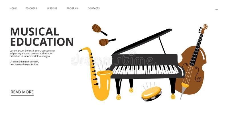 Μουσική σχολική προσγειωμένος σελίδα Διανυσματικό μουσικό πρότυπο εμβλημάτων Ιστού εκπαίδευσης Απεικόνιση βιολοντσέλων saxophone  ελεύθερη απεικόνιση δικαιώματος