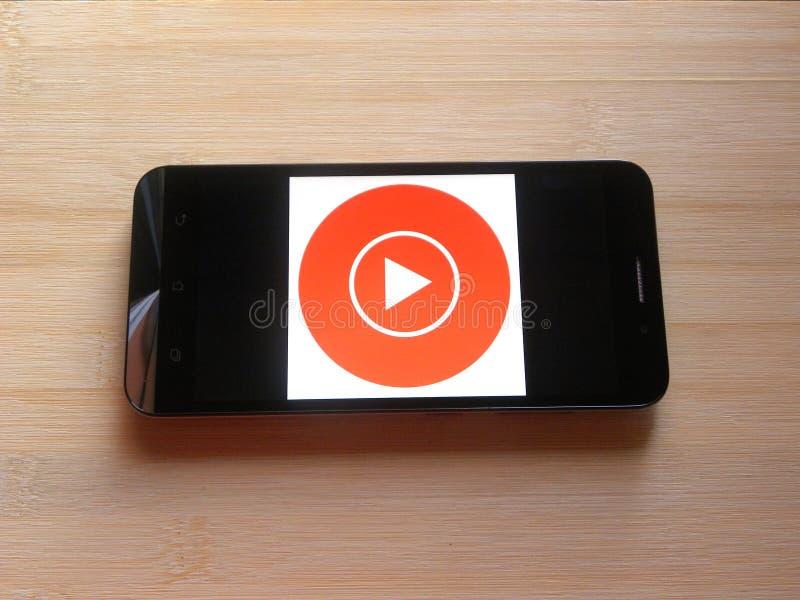 Μουσική app YouTube στοκ εικόνα