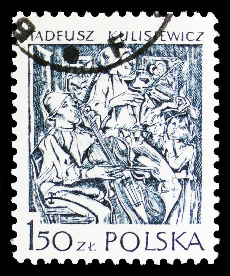 Μουσικοί, από Tadeusz Kulisiewicz, τις Modern Polish Graphic τέχνες serie, circa 1979 στοκ εικόνες