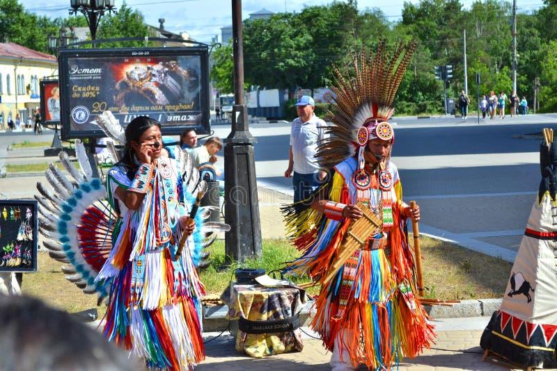 Μουσικοί Ινδών στη Ρωσία στοκ εικόνες