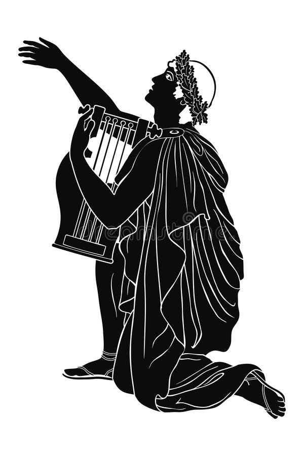 Μουσικός αρχαίου Έλληνα απεικόνιση αποθεμάτων