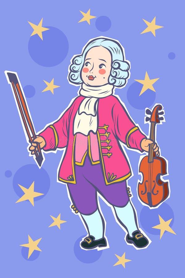 Μουσικός βιολιστών μωρών λίγο Μότσαρτ ελεύθερη απεικόνιση δικαιώματος