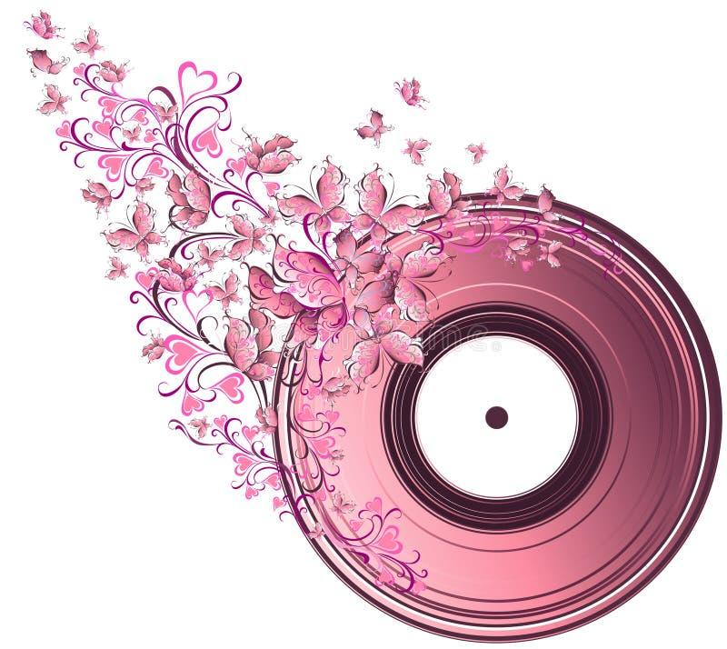 Μουσικός δίσκος με τις πεταλούδες διανυσματική απεικόνιση