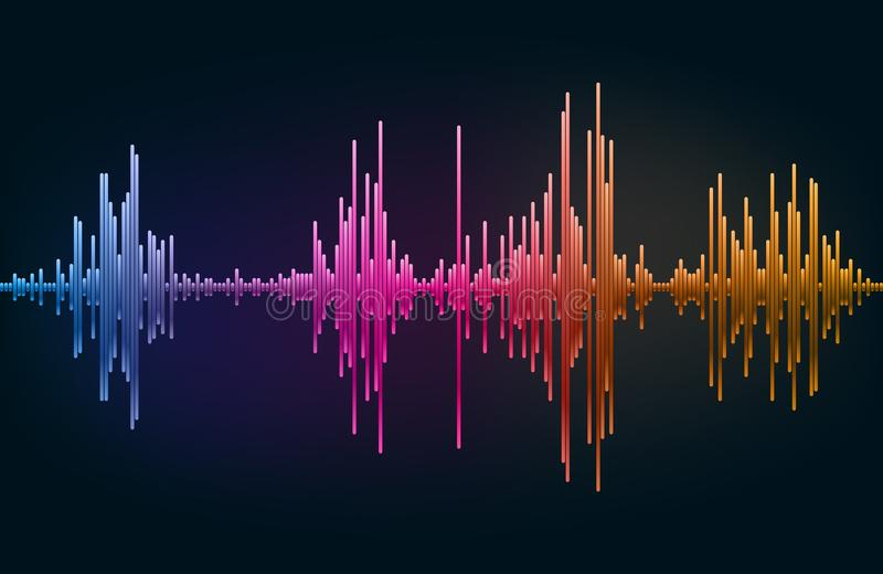 Μουσικός εξισωτής χρώματος Υγιές κύμα Ραδιο συχνότητα επίσης corel σύρετε το διάνυσμα απεικόνισης ελεύθερη απεικόνιση δικαιώματος