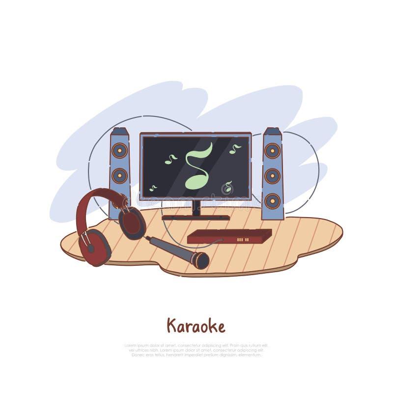 Μουσικός εξοπλισμός για την εσωτερική ψυχαγωγία, την τηλεόραση, τους ομιλητές, τα ακουστικά και το μικρόφωνο, έμβλημα δραστηριότη απεικόνιση αποθεμάτων