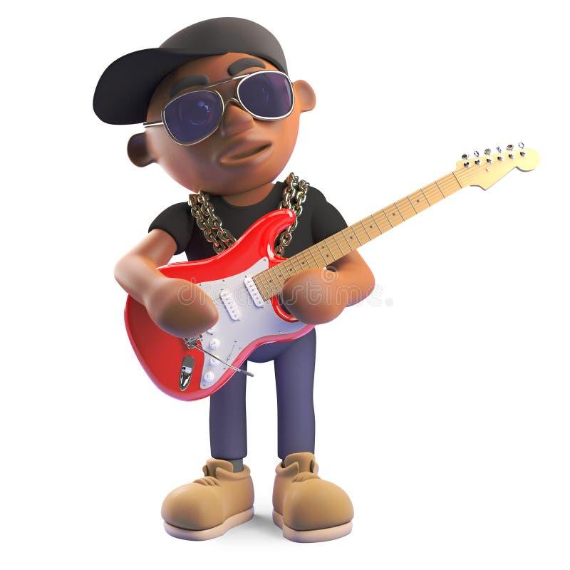 Μουσικός μαύρος βιαστής hiphop που παίζει την ηλεκτρική κιθάρα, τρισδιάστατη απεικόνιση ελεύθερη απεικόνιση δικαιώματος