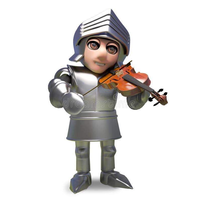 Μουσικός μεσαιωνικός ιππότης στο τεθωρακισμένο που παίζει ένα βιολί, τρισδιάστατη απεικόνιση ελεύθερη απεικόνιση δικαιώματος