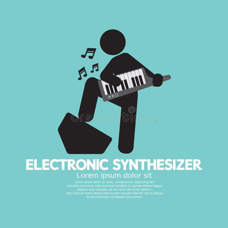 Μουσικός που παίζει έναν ηλεκτρονικό συνθέτη απεικόνιση αποθεμάτων