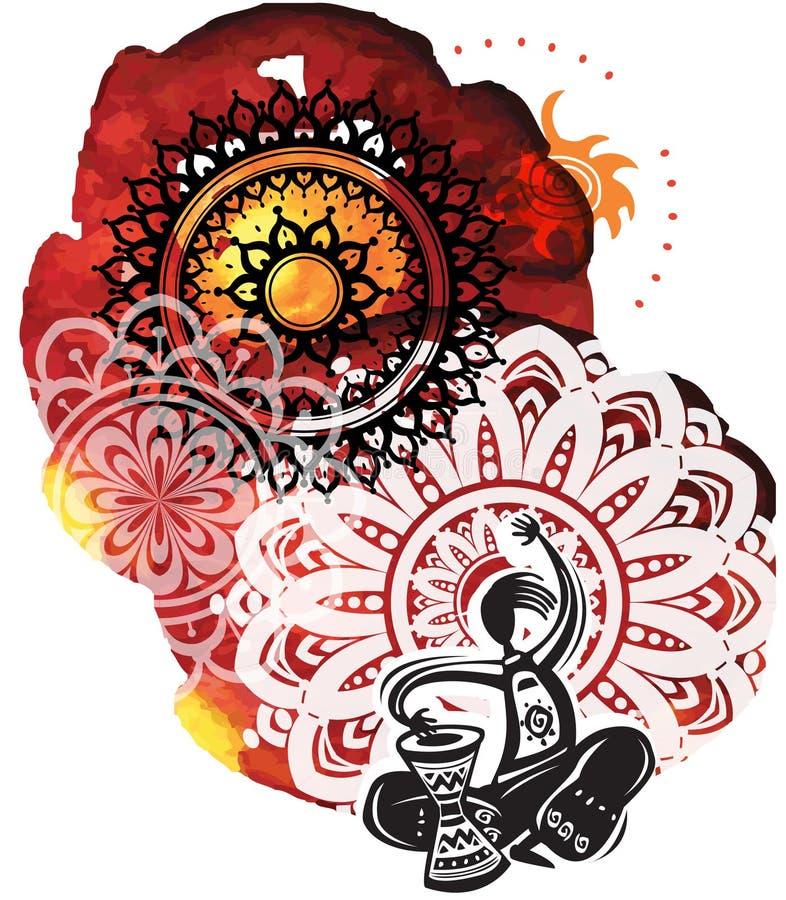 Μουσικός στο υπόβαθρο από τα splatters watercolor και τον κύκλο patte ελεύθερη απεικόνιση δικαιώματος