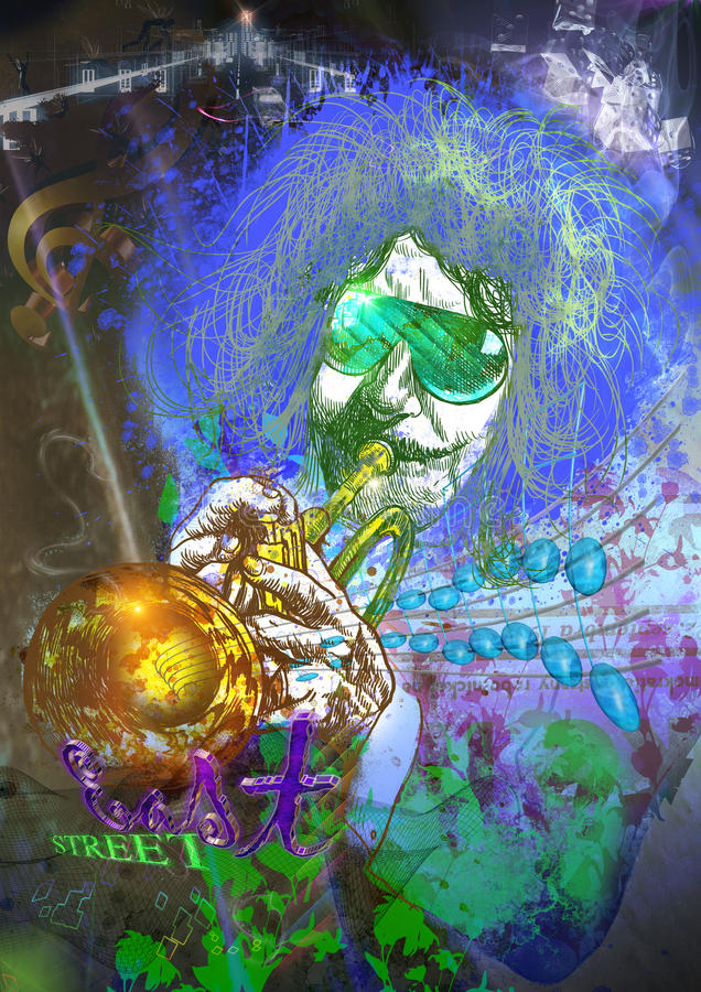 Μουσικός: Φορέας σαλπίγγων (μικτή τέχνη mdia) διανυσματική απεικόνιση