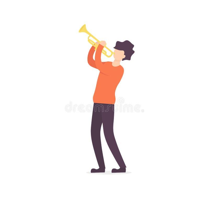 Μουσικός χαρακτήρα ατόμων σαλπίγγων διανυσματική απεικόνιση