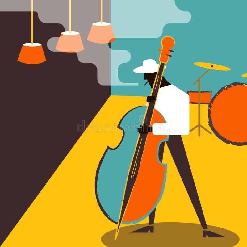 Μουσικός Contrabass Πρότυπο αφισών απόδοσης μουσικής της Jazz διανυσματική απεικόνιση