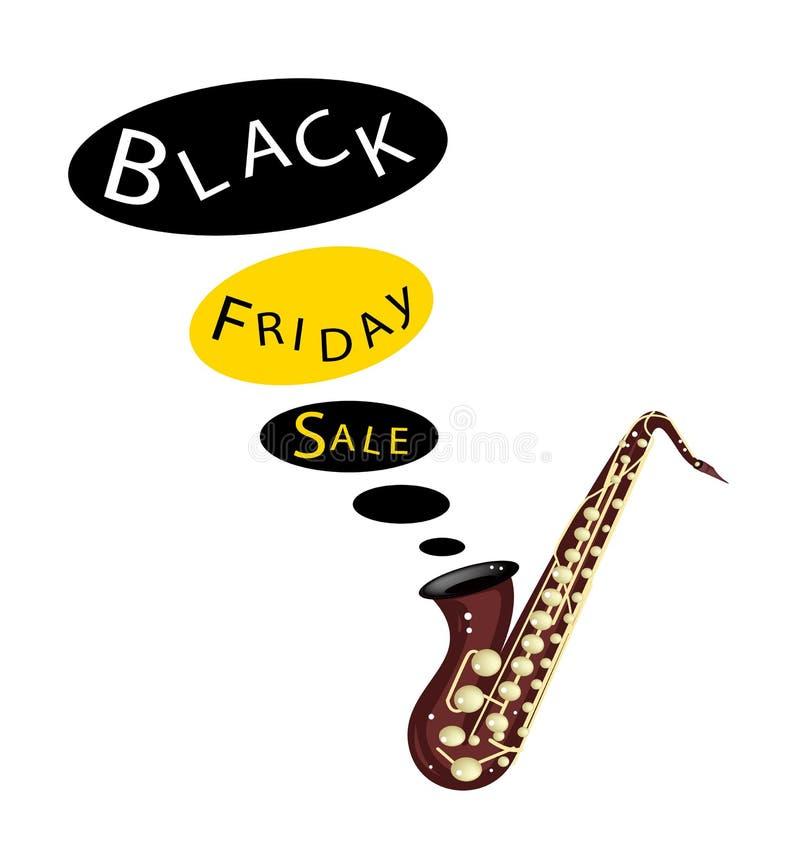 Μουσικό βαθύ Saxophone που παίζει τη μαύρη πώληση Παρασκευής ελεύθερη απεικόνιση δικαιώματος