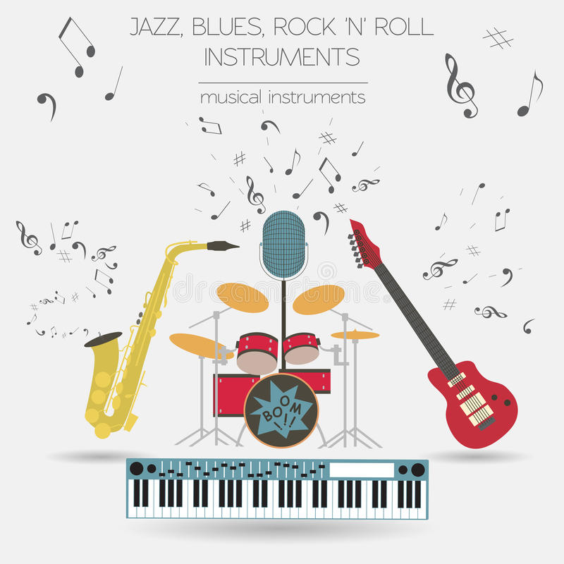 Μουσικό γραφικό πρότυπο οργάνων Jazz, μπλε, BA ρόλων βράχου ` ν ` ελεύθερη απεικόνιση δικαιώματος