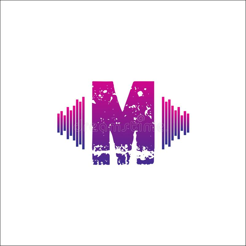 Μουσικό διανυσματικό πρότυπο λογότυπων Μ αρχικών διανυσματική απεικόνιση