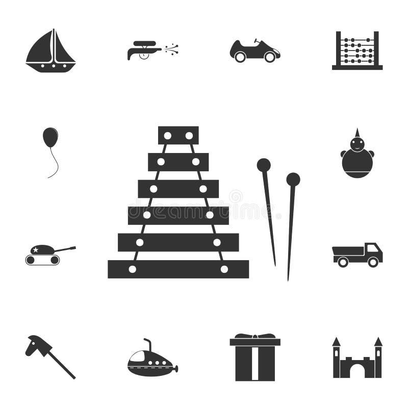 μουσικό εικονίδιο οργάνων παιχνιδιών Λεπτομερές σύνολο εικονιδίου παιχνιδιών Γραφικό σχέδιο ασφαλίστρου Ένα από τα εικονίδια συλλ απεικόνιση αποθεμάτων