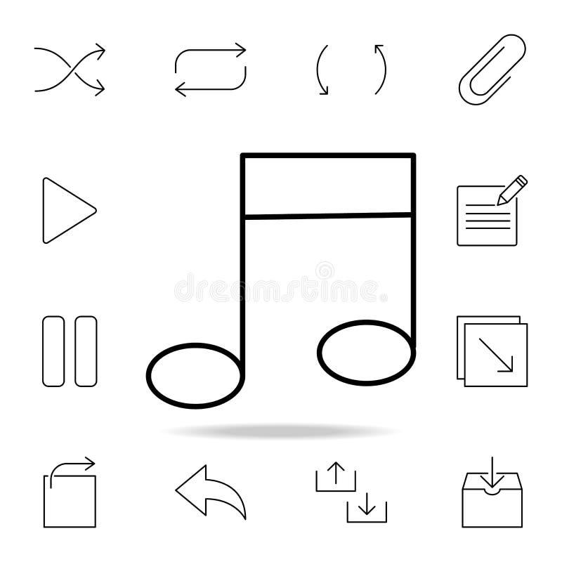 Μουσικό εικονίδιο σημειώσεων Λεπτομερές σύνολο απλών εικονιδίων Γραφικό σχέδιο ασφαλίστρου Ένα από τα εικονίδια συλλογής για τους ελεύθερη απεικόνιση δικαιώματος