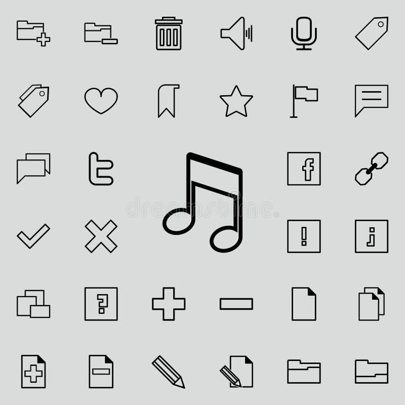Μουσικό εικονίδιο σημειώσεων Λεπτομερές σύνολο minimalistic εικονιδίων Γραφικό σχέδιο ασφαλίστρου Ένα από τα εικονίδια συλλογής γ διανυσματική απεικόνιση