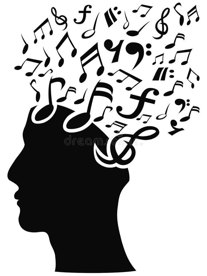 Μουσικό κεφάλι σημειώσεων απεικόνιση αποθεμάτων