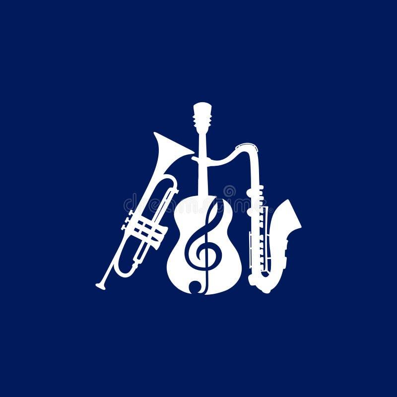 Μουσικό λογότυπο Κιθάρα που συνδυάζεται με ένα τριπλά clef, μια σάλπιγγα και ένα saxophone απεικόνιση αποθεμάτων