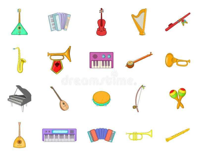 Μουσικό σύνολο εικονιδίων οργάνων, ύφος κινούμενων σχεδίων ελεύθερη απεικόνιση δικαιώματος