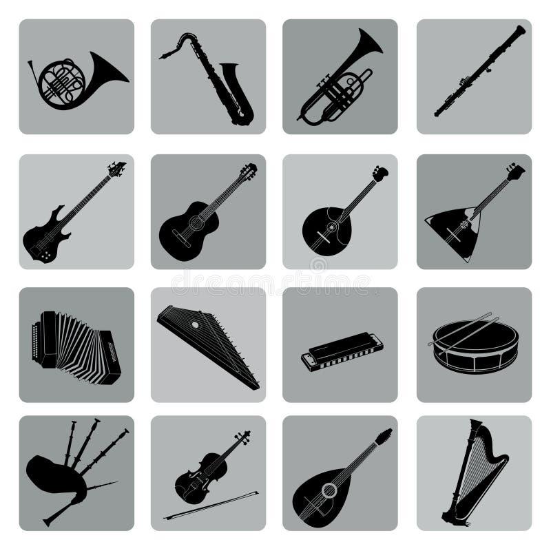 Μουσικό σύνολο εικονιδίων οργάνων Λαϊκός, κλασσικός, τζαζ, εθνική, ροκ διανυσματική απεικόνιση