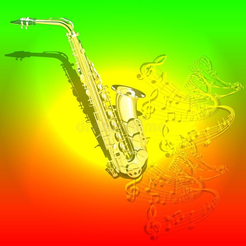 Μουσικό υπόβαθρο Saxophone και κύματα των μουσικών νοτών διανυσματική απεικόνιση