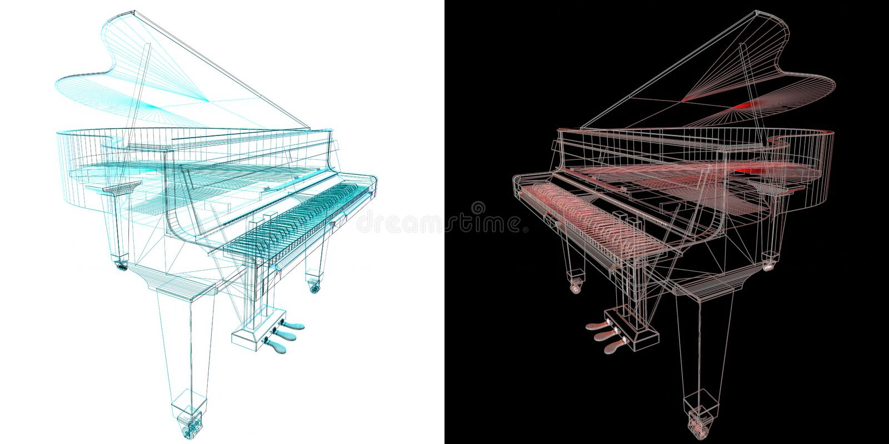 Μουσικό όργανο πληκτρολογίων Τυποποιημένο μεγάλο πιάνο Μουσικός emble διανυσματική απεικόνιση
