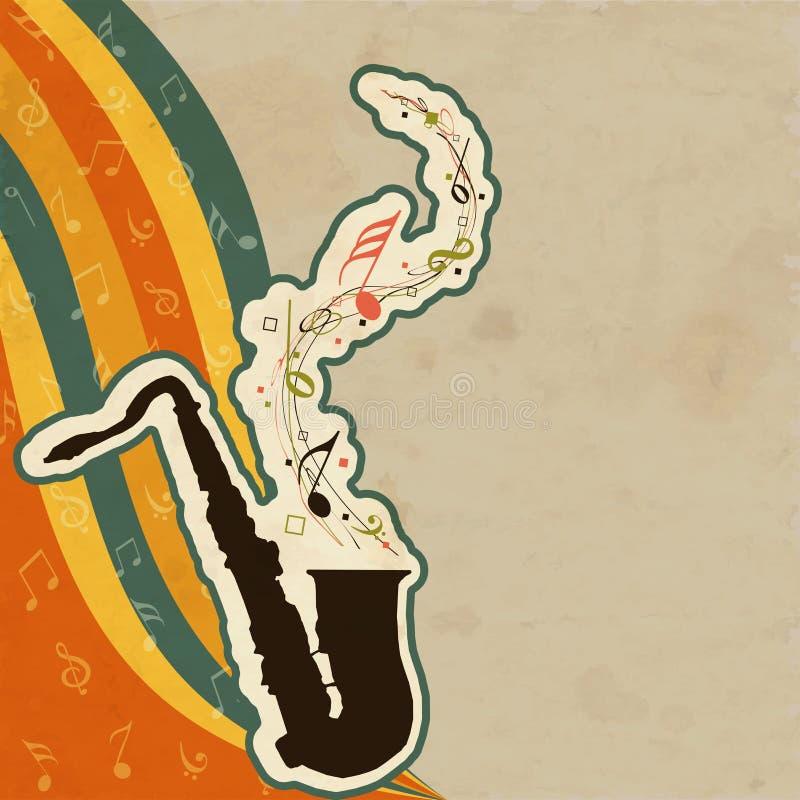 Μουσικό saxophone οργάνων με τα πετώντας μουσικά κύματα σημειώσεων διανυσματική απεικόνιση
