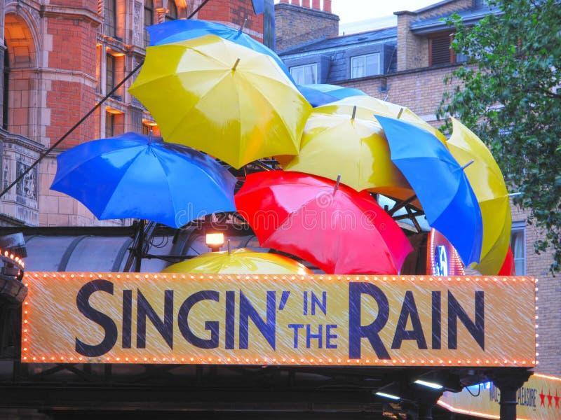 Μουσικό Singin στη βροχή στοκ εικόνες
