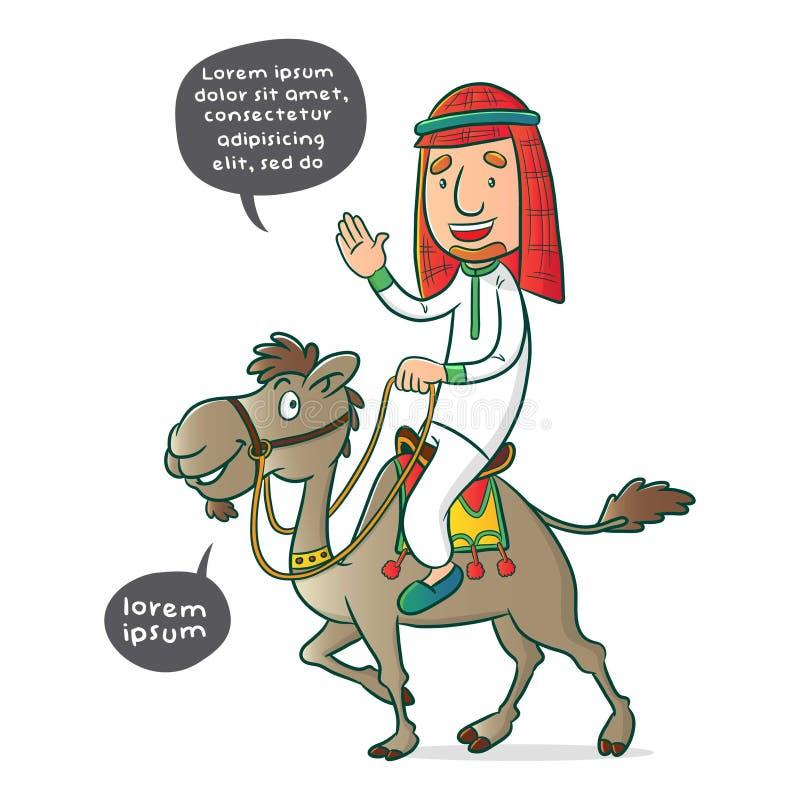 Μουσουλμάνος που οδηγά μια καμήλα διανυσματική απεικόνιση