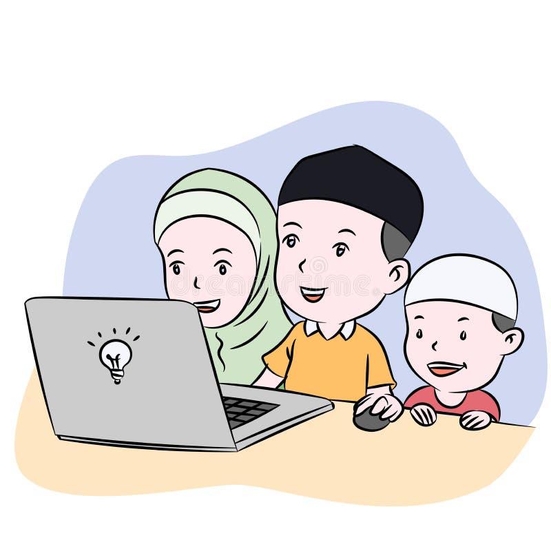 Μουσουλμανικά παιδιά που προσέχουν τη συρμένη χέρι διανυσματική απεικόνιση υπολογιστών γραφείου απεικόνιση αποθεμάτων