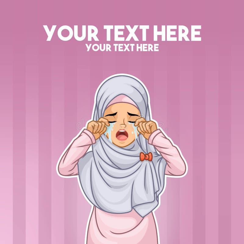 Μουσουλμανική γυναίκα που φωνάζει με τα χέρια στο πρόσωπό της διανυσματική απεικόνιση