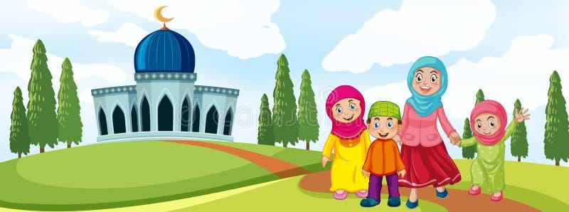 Μουσουλμανική οικογένεια μπροστά από το μουσουλμανικό τέμενος διανυσματική απεικόνιση