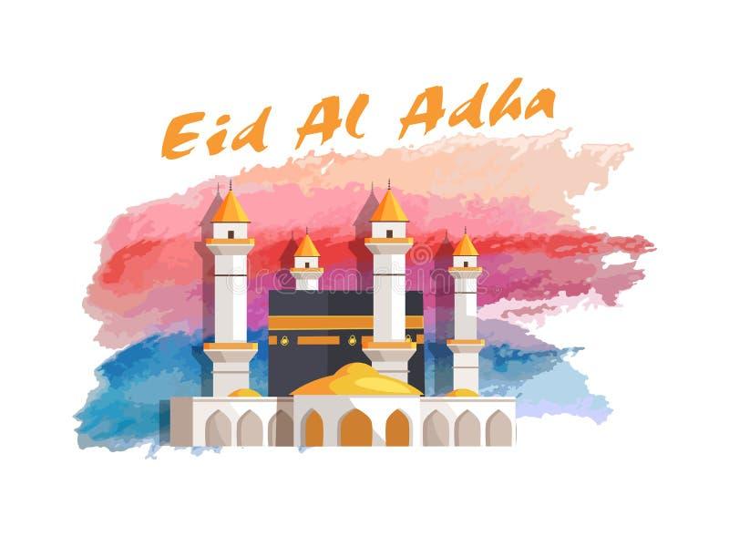 Μουσουλμανικό έμβλημα διακοπών Al Adha Eid με το μουσουλμανικό τέμενος ελεύθερη απεικόνιση δικαιώματος