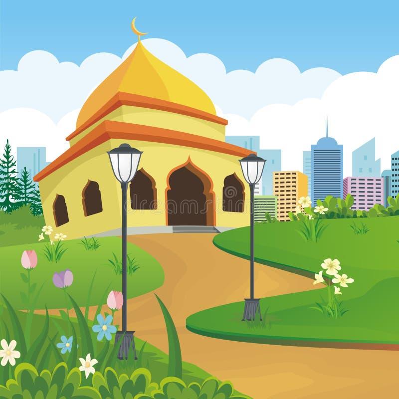 Μουσουλμανικό τέμενος κινούμενων σχεδίων με το τοπίο φύσης και πόλεων ελεύθερη απεικόνιση δικαιώματος