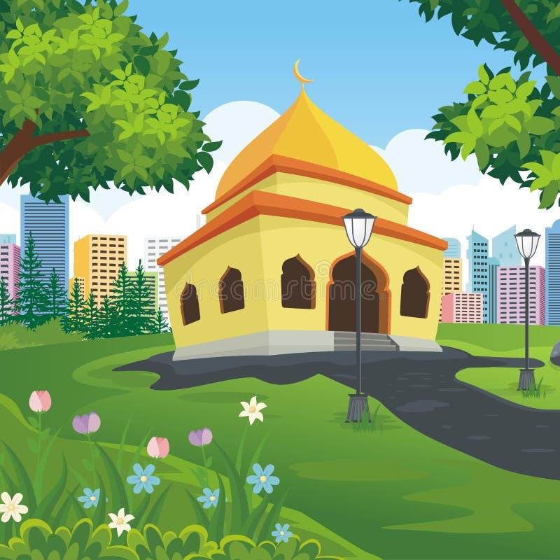 Μουσουλμανικό τέμενος κινούμενων σχεδίων με το τοπίο φύσης και πόλεων διανυσματική απεικόνιση