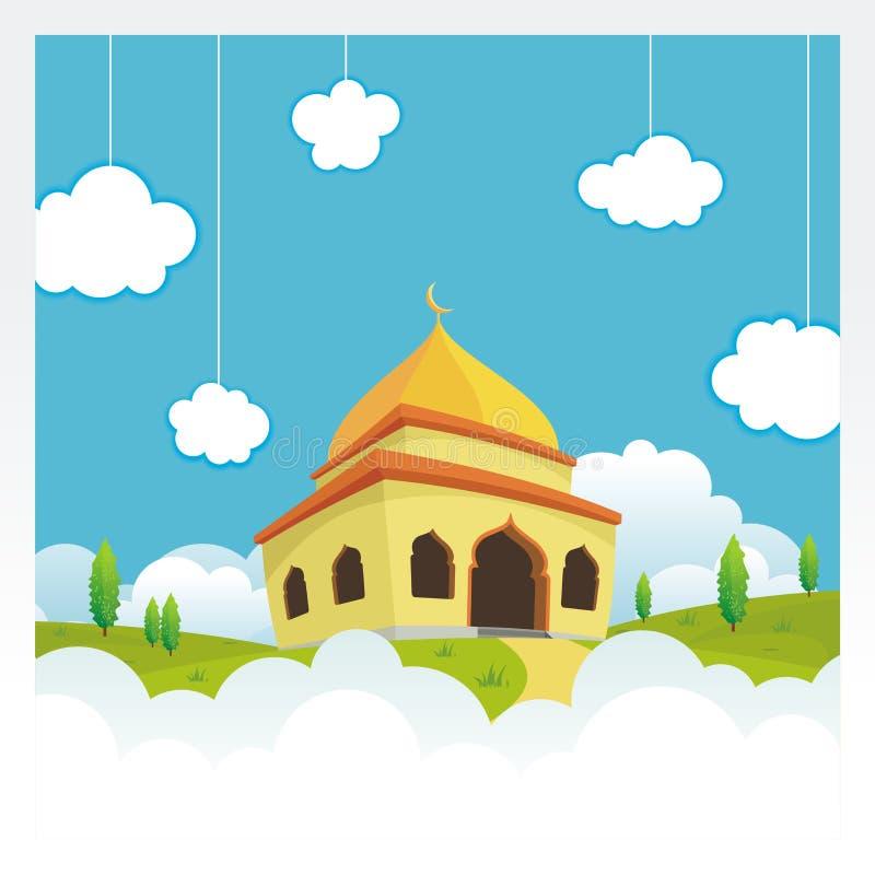 Μουσουλμανικό τέμενος κινούμενων σχεδίων στον ουρανό και το σύννεφο διανυσματική απεικόνιση