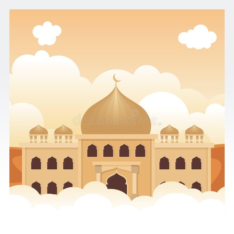 Μουσουλμανικό τέμενος κινούμενων σχεδίων στον ουρανό και το σύννεφο απεικόνιση αποθεμάτων